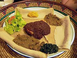Injera with Various Dishes