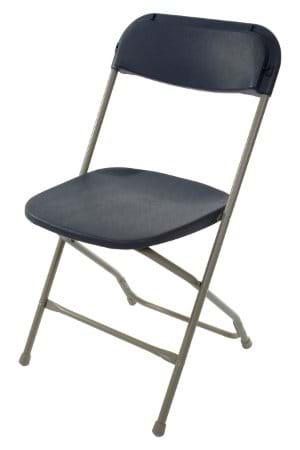 Slate Blue On Grey Plastic Folding Chair
