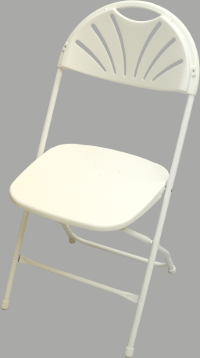 White on White NES Reliable Fanback Plastic Folding Chair
