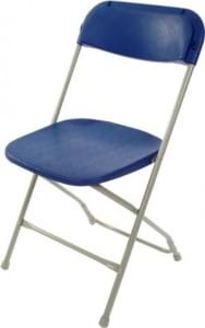 Royal Blue on Grey Plastic Folding Chairs