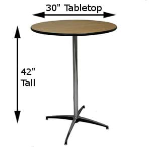 30-Inch Top with Tall Pole Measurements