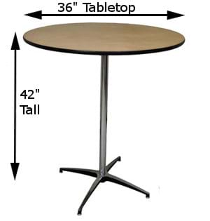 36-inch Top with Tall Pole Measurements