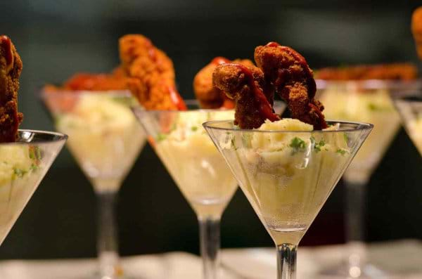 Mashed Potato and Fried Chicken in Martini Glass