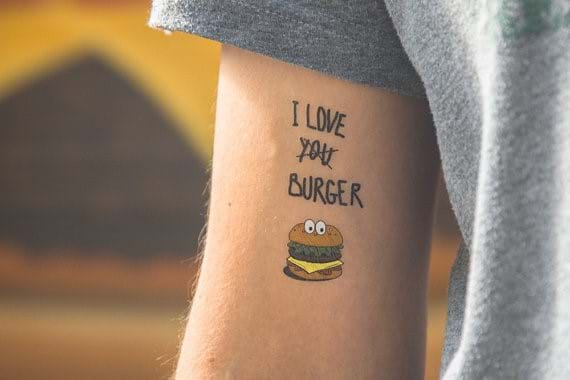 I Love Burger Temporary Tattoo