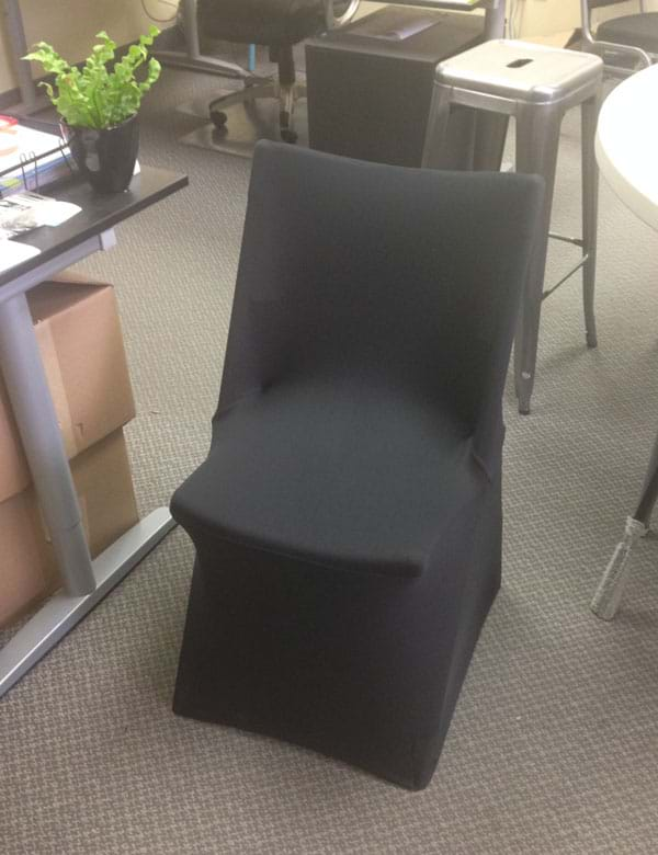 Spandex Chair Cover on Blow Mold Folding Chair