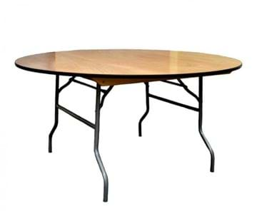 "Picture of NES 66"" Round Wood Folding Table"