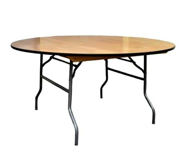 """Picture of NES 66"""" Round Wood Folding Table"""
