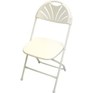 Picture of White Plastic Fan back Folding Chair