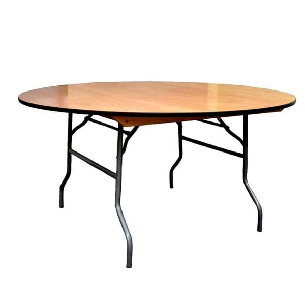 "Picture of NES 60"" Round Wood Folding Table"