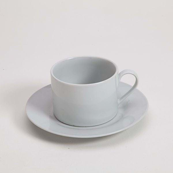 Picture of Pearl White Can Cup and Saucer