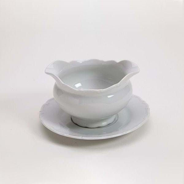 Picture of Snow Drop 14oz No Handle Gravy Boat with Plate