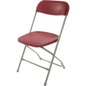 Picture of Burgundy on Grey Plastic Folding Chair