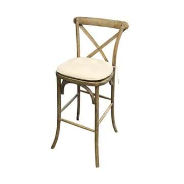 Picture of Rustic Wood Cross Back Bar Chair