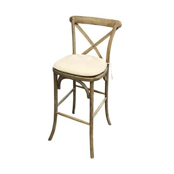 Rustic Wood Cross Back Bar Chair