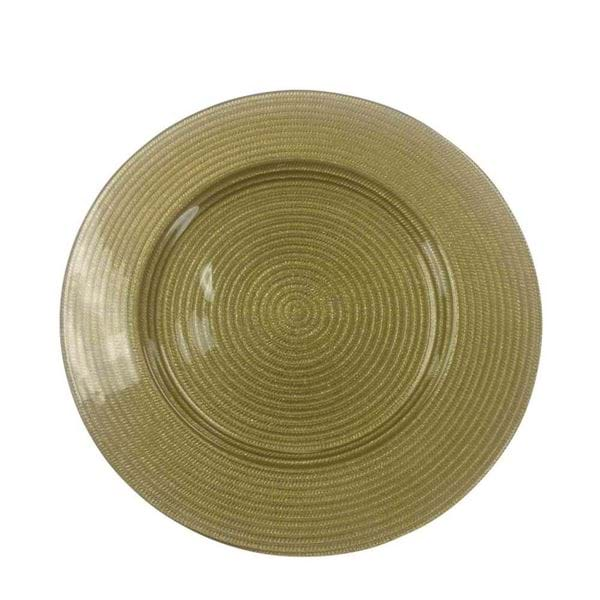 "Picture of 12.5"" Round Gold Rope Glass Charger Plate"
