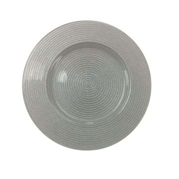 "Picture of 12.5"" Round Silver Rope Glass Charger Plate"