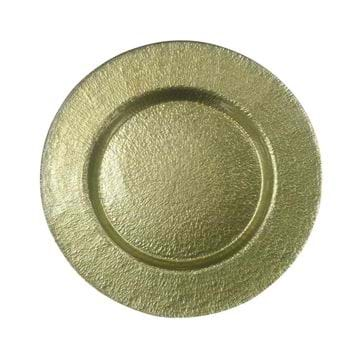 "Picture of 12.5"" Round Gold Hammered Glass Charger Plate"