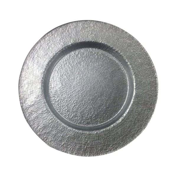 "Picture of 12.5"" Round Silver Hammered Glass Charger Plate"