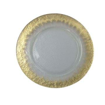 "Picture of 12.5"" Round Hammered Ice Gold Starburst Glass Charger Plate"