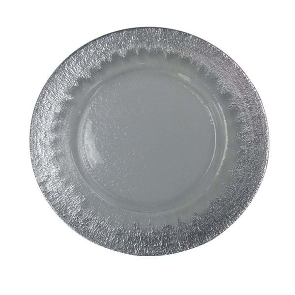 "Picture of 12.5"" Round Hammered Ice Silver Starburst Glass Charger Plate"