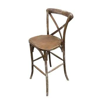 Picture of Brown Rustic Wood Cross Back Bar Chair