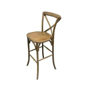 Picture of Vineland Brown Wood Cross Back Bar Chair