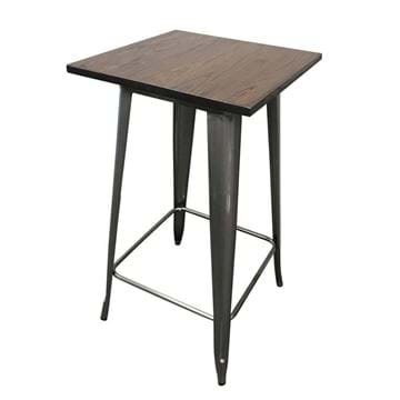 Industrial Metal Bistro Table with Dark Fruitwood Tabletop-from side