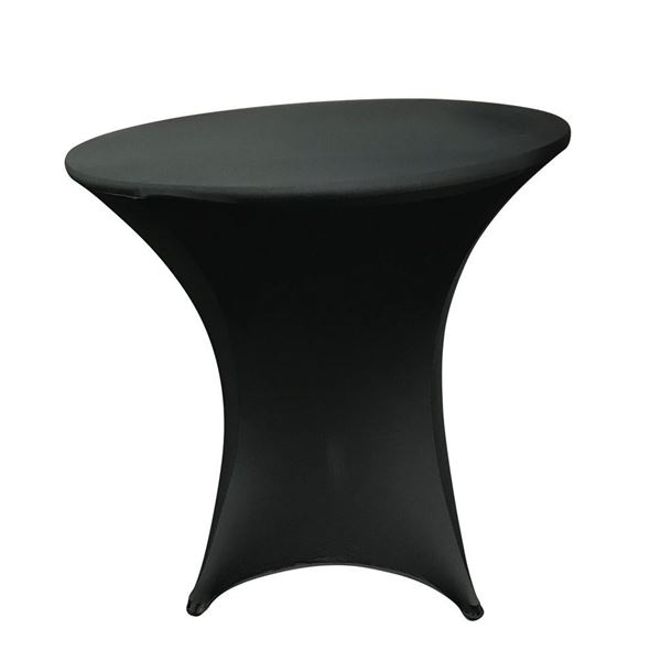 Black 30 inch round low cocktail spandex table cover