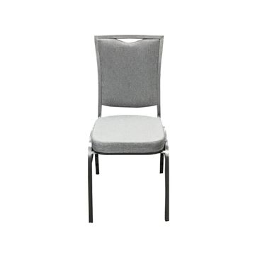 Grey Square Back Banquet Chair with Silver Vein Frame - Front