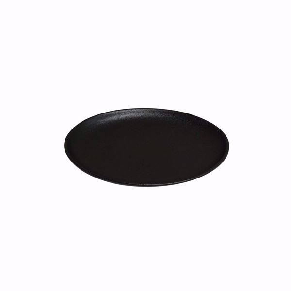"Ebony 11"" Black Matte Oval Coupe Plate - Side top"