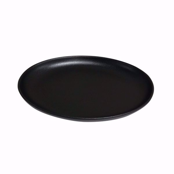 "Ebony 12.75"" Black Matte Oval Coupe Plate - side top"