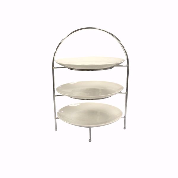 3 Tier Iron Display Stand with 3 Porcelain Plates - front