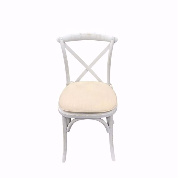Whitewashed Cross Back Chair - Front