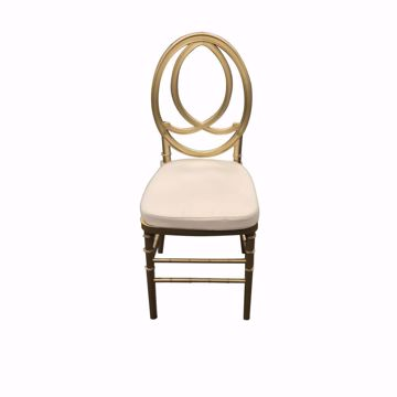 NES Reliable Gold Resin Phoenix Chair-with Ivory Fabric Cushion