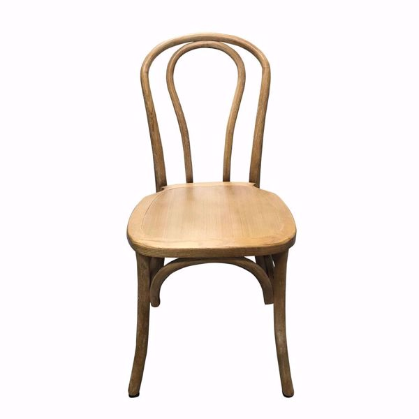 Pecan Wooden Bentwood Chair - Stackable - Front