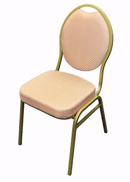 Peach Patterned Teardrop back Banquet Chair with Gold Speckled Frame
