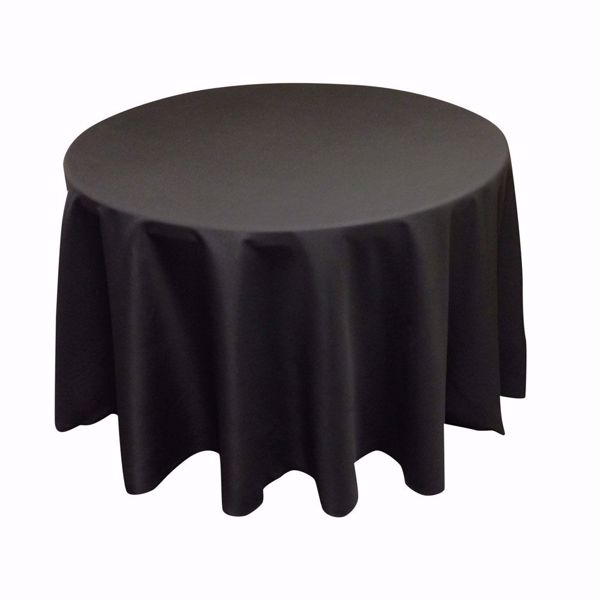 108 inch round polyester tablecloth - black