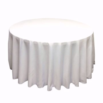 120 inch round polyester tablecloth - white