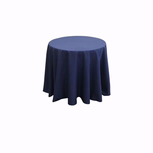 90 inch round polyester tablecloth - navy blue