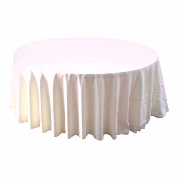 132 inch round polyester tablecloth - ivory