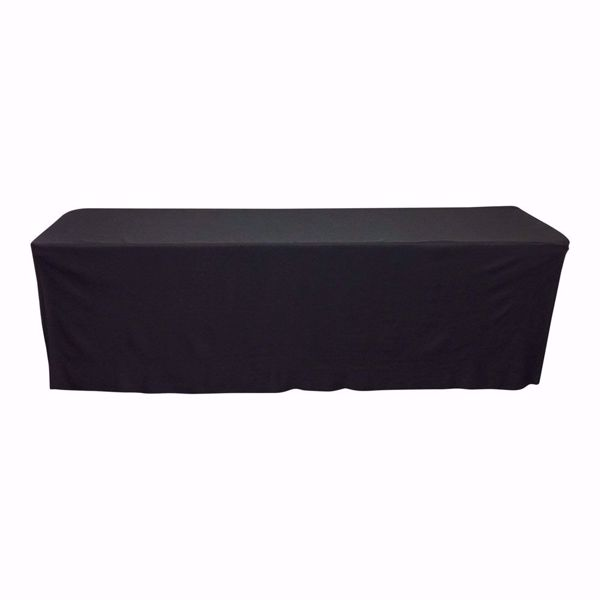 8ft fitted polyester tablecloth - black