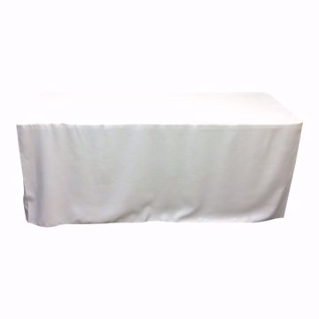 6ft fitted tablecloths - white - front