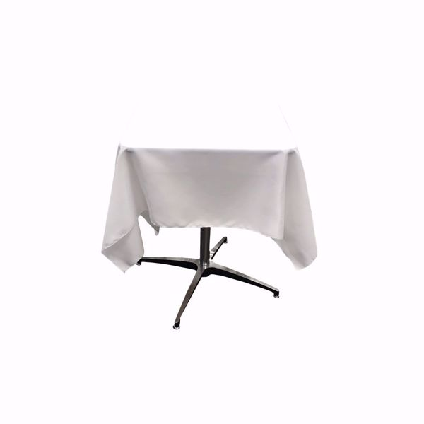 54 inch square polyester tablecloth - white