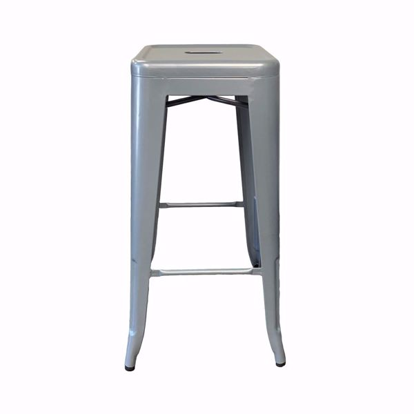 Picture of Industrial Metal Bar Stool - Powder Coated Silver